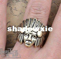 Wholesale Fashion PUNK Gothic chief of a tribe Ring Antique Indian Finger Rings head sculpture Ring
