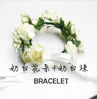 Wholesale Bridal wreath tire head ring bracelet party adjustable Christmas wreath tire bride take photos of flowers