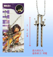 Wholesale japan anime Attack on Titan Shingeki no Kyojin SNK Military Eren Jaeger Sword Knife Weapon Silver necklace b2096