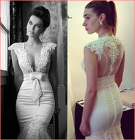 Sheath/Column Reference Images Plunging New 2014 Wedding Dresses Sexy Plunging Sheer Capped Lace Sheath Long Sweep Train Bow Beaded Berta Bridal Gowns Evening Dress Real Show W300