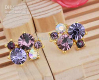 Wholesale fashion fine colorful crystal diamonds beads beaded cheap discount earrings jewelry a