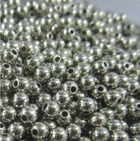 Wholesale metal necklace spacer beads MM round silver spacer beads