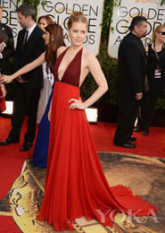 Wholesale Evening Dresses Chic Amy Adams Red Carpet Celebrity Dresses By Valentino Chiffon Elegant Evening Dress Sexy Prom Dress Gowns Hot Sale