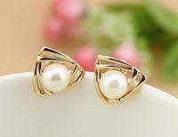 Wholesale E272 Fashion Jewelry Popular Eardrop Gold Plating Golden Double deck Triangle White Pearl Earrings Stud Alloy Elegant Woman Article