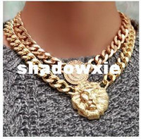 Wholesale Mix USD Shiny Gold plated Lion head Chain Queen Necklace Chunky Choker Chain Pendant Statement