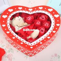 bath toilet soaps - Woman Romantic gift plush bear heart rose soap flower toilet soap roses bath supplies Every set flower