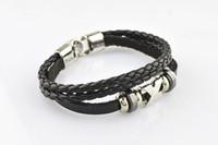 Wholesale HOT Sale Fashion bijoux jewelry Knitted leather men titanium steel unadjustable bracelets amp bangles