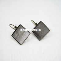 Wholesale mm brass bronze vintage square earring hoop earring hook earring base bezels tray setting