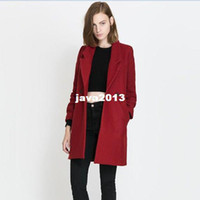 Cheap Wholesale - Autumn Winter 2013 Slim Long Sleeve Turn-down Collar Woolen Womens Long Coat Outwear Overcoat with Pockets Red Free Shipping