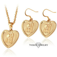 Wholesale New Heart Design Allah Necklace Earrings Set High Quality K Gold Plated Fashion Islamic Muslim Women s Jewelry Sets S3136