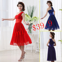 Cheap Red Purple Blue One-Shoulder Tea-length A-Line Short Prom Gowns 2013 Pleats Sash Zipper Chiffon Under 50 Cheap In Stock Dresses SD014