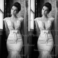 Cheap 2014 New Sexy Berta Daring Lace Applique Beads Bow Sash Mermaid Deep V-Neck Cap Sleeves Backless Sweep Train Lace Wedding Dresses Dhyz 01