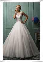 Cheap 2014 Ball Gown Wedding Dresses Sweetheart Lace Overlay Sheer Back Buttons Tulle Church Bridal Gowns Amelia Sposa Dress New Arrival AW-306