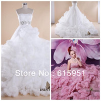 Wholesale Sexy Long train Crystal White Purple plus size Puffy Ball gown Bridal Wedding Dresses Gowns HL006