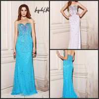 Reference Images Sweetheart Tulle Angela And Alison 21100 Aqua Blue Sweetheart Prom Dresses Sheath Crystals Luxurious Evening Gowns Brush Train Pageant Dresses