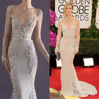Wholesale Paolo Sebastian Dress New Catt Sadler Crystal Long Sleeve Evening Ball Gowns Cheap Sexy Stain Celebrity Dresses Red Carpet Bling V Neck
