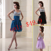Wholesale Hot Selling In Stock Dresses Lilac Coral Black Royal Blue Spaghetti Chiffon Backless Cheap Short Prom Party Homecoming Gowns SD016