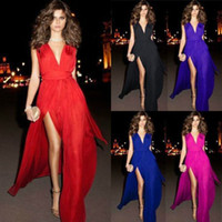 Wholesale Sexy V Neck Sheath Straps Sleeveless Split Chiffon Formal Special Occasion Long Prom Evening Dresses Bridesmaid Gowns Prom Gowns DL132000666
