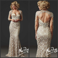 Wholesale 2014 Luxury Champagne Mermaid Mother of the Bride Dresses with Sheer Lace Long Sleeves Keyhole Back Floor Length Evening Formal Dresses