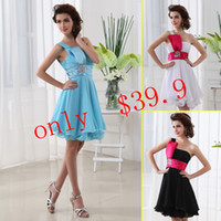 Cheap Simple 2013 One-Shoulder Knee-length Crystal A-Line Short Prom Party Gowns Blue Black Lace-up Chiffon Cheap Under 50 In Stock Dresses SD017