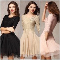 Wholesale Fashion Women Sleeve Round Neck Slim Fit Tunic Lace Chiffon Ball Gown Evening Party Dress DL132000669