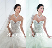 Wholesale Luxury Corset Back Bridal Wedding Dress Sweetheart A line Swarovski Sequin Tulle Pleat Sweep Train yk8Y81