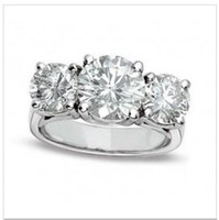 real diamonds - Vintage Real Ctw Real Diamond Kt White Gold Three Stone Wedding Ring Band