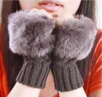 Mittens Gloves & Mittens Patchwork hot-selling knitted yarn semi-finger ladies gloves,fashion mitring women's thermal faux gloves free shipping ST6037