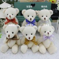 Wholesale Stuffed Animals Wedding Bears - size about 12cm Animals Bears Tie Joints Bear Plush Toys Dolls Teddy Stuffed Toys Wedding gifts