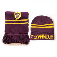 Wholesale 1Lot pieces Harry Potter Scarf Cap Set Gryffindor Thicken Wool Knit Scarf Hat Set Soft P16_A