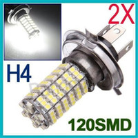 car lights - 2pcs H4 SMD Car LED Front Fog Headlight Lamp High Beam V White Car Light Led Bulb