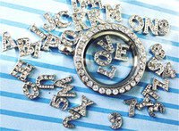 Wholesale 180pcs numbers letter A Z Alphabet Initial floating charm for Glass Locket Necklaces Valentine gift