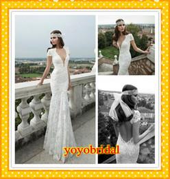 Wholesale Stylish Bridal Dresses - 2016 Gorgeous Sexy Deep V neck Cap Short Sleeve Lace Backless Wedding Dresses Bridal Gowns Dress 2016 Vintage Designer Beach Summer Stylish
