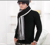 Wholesale The new autumn and winter scarf sets boys Korean mixed colors striped wool scarves hats Men