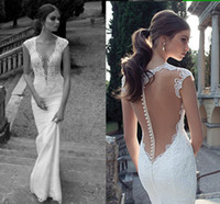 Cheap Berta Winter 2014 Lace Sheer Wedding Dresses Deep V Neck Illusion Back Covered Button Mermaid Court Train Wedding Bridal Dresses Gowns