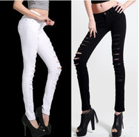 Wholesale 2013 Hot Fashion Ladies Female Cotton Denim Ripped Punk Cut out Women Sexy Skinny Jeans Trousers Black White