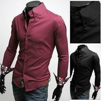 Dress Shirts Long Sleeve 100% Cotton 2014 New Occident Fashion Style Men Shirts Slim Plus Size Contrasted Color Silk Sleeves Shirts Turn down Collar Shirts 2 Colors 4 Size