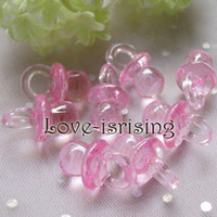 Wholesale Tracking number per mm mm Clear Pink Mini Acrylic Baby Pacifier Baby Shower Favors Cute Charms cupcake decorating