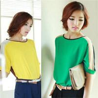 Short Sleeve Chiffon  women chiffon short sleeve blouse girls' summer tops ladies tops S-----XXL size---2pcs lot