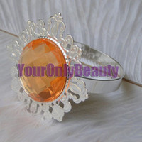 Cheap Free DHL For Large Quantity and 50% off, 50pcs Peach Gem Napkin Rings Wedding Favor Supplies