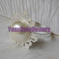 Cheap Lowest Price--Ivory Pearl Vintage Style Napkin Rings Wedding Bridal Shower Napkin holder-- Free Shipping