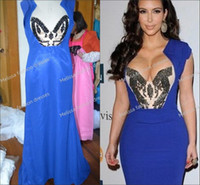Cheap Wholesale - - Sexy Mermaid Short Sleeves Beaded Stretch Satin Kim Kardashian Dress 2014