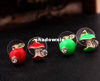 Wholesale Pairs Brand New Fashion Lovely Red Apple Earrings Christmas Gift Stud Earring Apple Earring