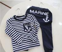 Boy Spring / Autumn Long Wholesale - - Baby Boys suit kids children 2pc set long sleeve Anchor T-shirts + pants boys clothes suits set