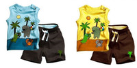 Boy boys brown suit - Boy Suits Children Clothes Beach Cartoon Sleeveless T shirts Brown Shorts Piece Set For Boy Kid Outfits