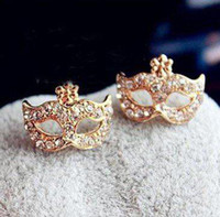 Wholesale pairs Fashion Full Crystal Mask Earring Party Mask Ear Stud sexy earring
