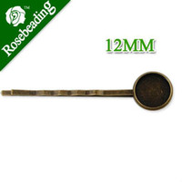 Wholesale MM Antique Bronze Plated Brass Bobby Pin With bezel fit mm glass cabochon bobby pin bobby blank sold per pkg