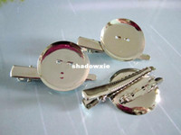 Wholesale set of Silver tone Metal Hair Clip Brooch Pin Backings Alligator Clip with mm Glue Pad nickle free JS0055
