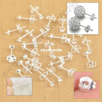 Wholesale Free Fast Shipping Sterling Silver Jewelry Findings Ear Pin Pairs Stud Earrings With BACK STOPPERS