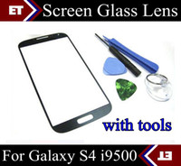 Wholesale high quality Brand New Front Screen glass lens Replacement For samsung Galaxy S4 i9500 tools SHA D